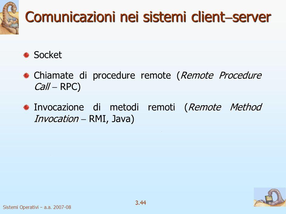 Comunicazioni nei sistemi clientserver