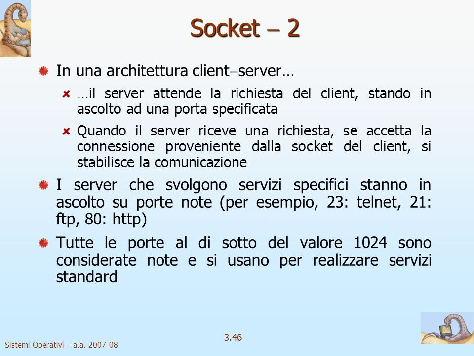 Socket  2 In una architettura clientserver…