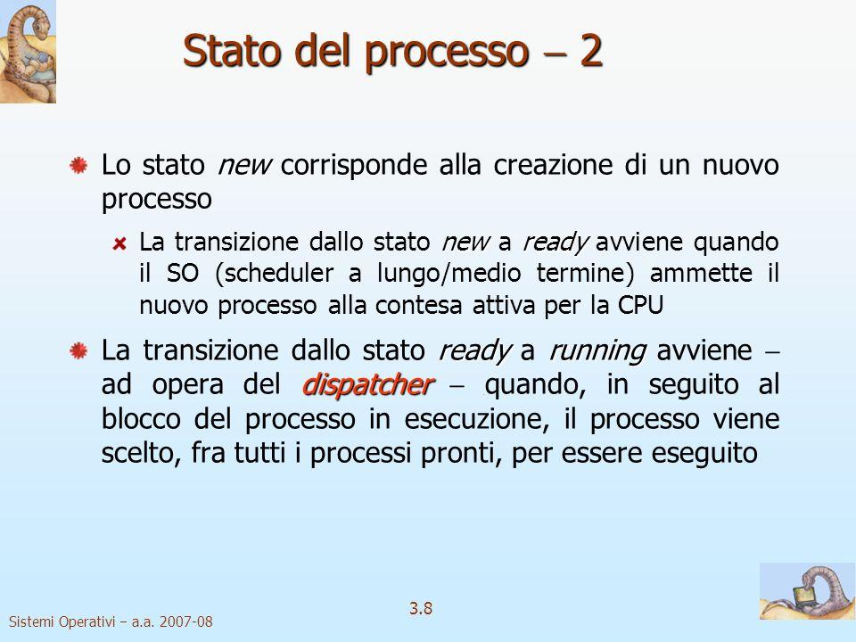Stato del processo  2 Lo stato new corrisponde alla creazione di un nuovo processo.