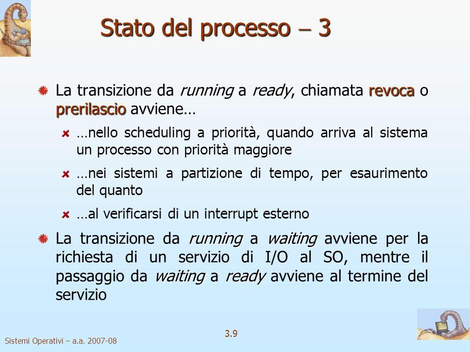 Stato del processo  3 La transizione da running a ready, chiamata revoca o prerilascio avviene…