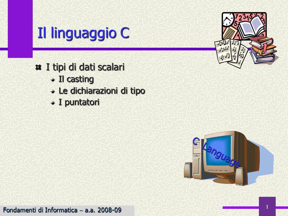 Il linguaggio C I tipi di dati scalari C Language Il casting