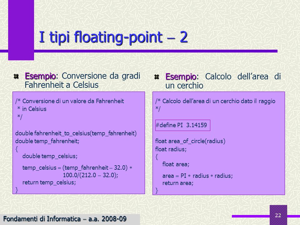 I tipi floating-point  2