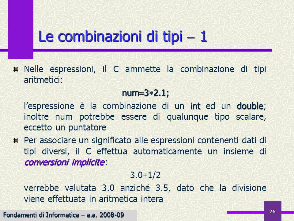 Le combinazioni di tipi  1