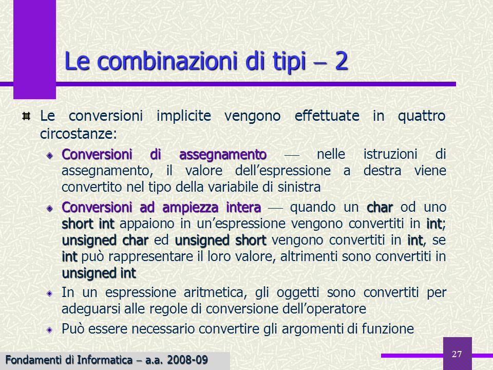 Le combinazioni di tipi  2