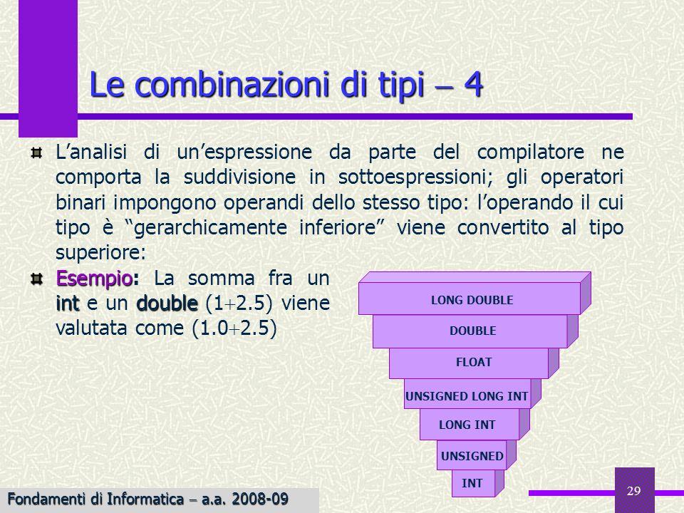 Le combinazioni di tipi  4