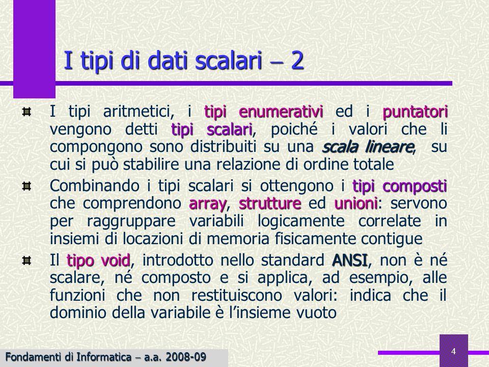 I tipi di dati scalari  2