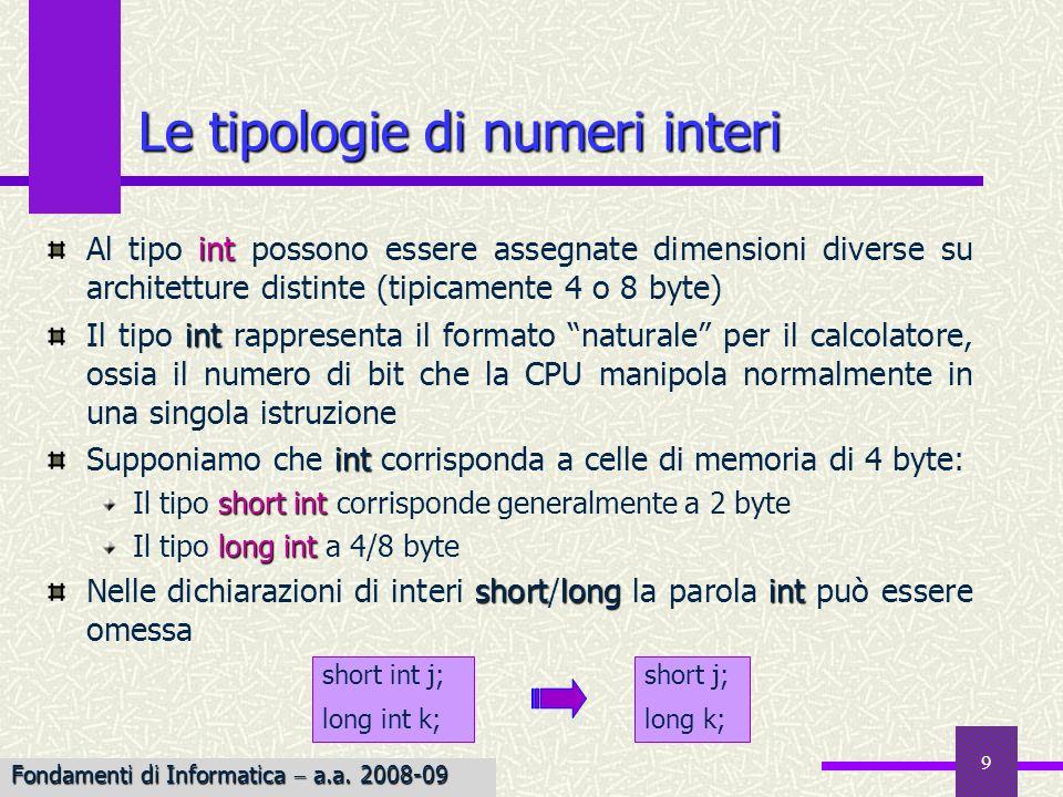 Le tipologie di numeri interi