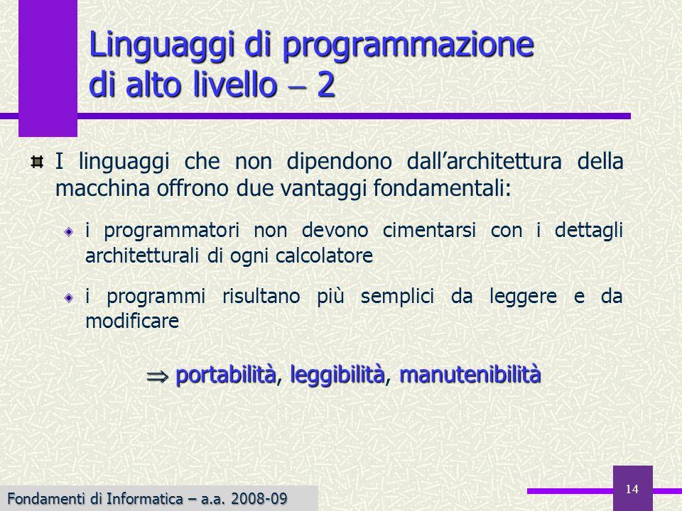 Linguaggi di programmazione di alto livello  2