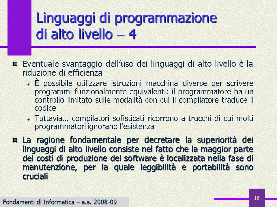 Linguaggi di programmazione di alto livello  4