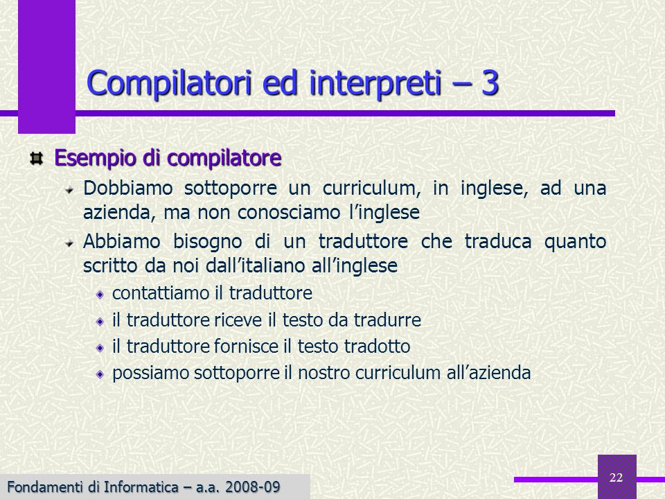Compilatori ed interpreti – 3