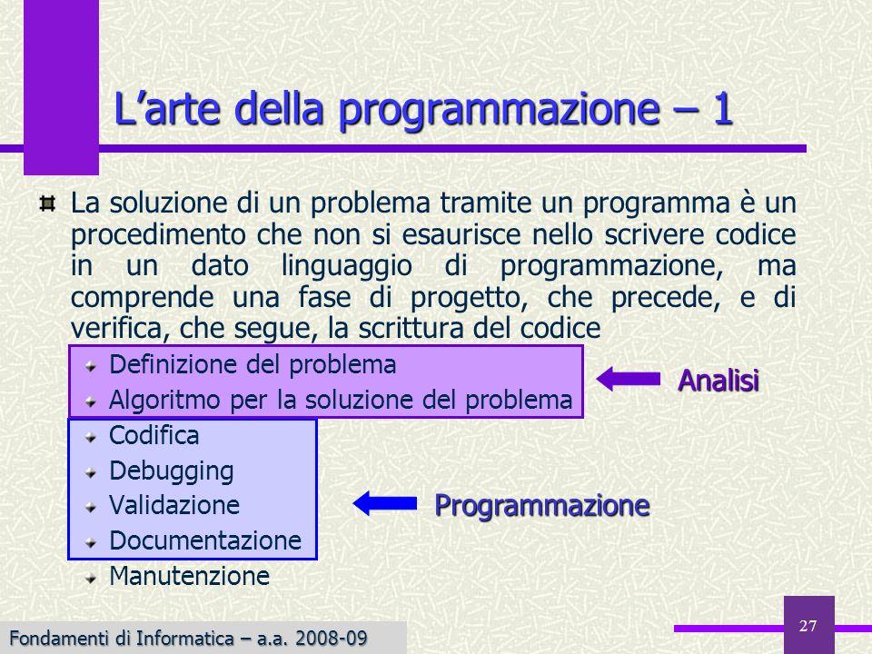 L'arte della programmazione – 1