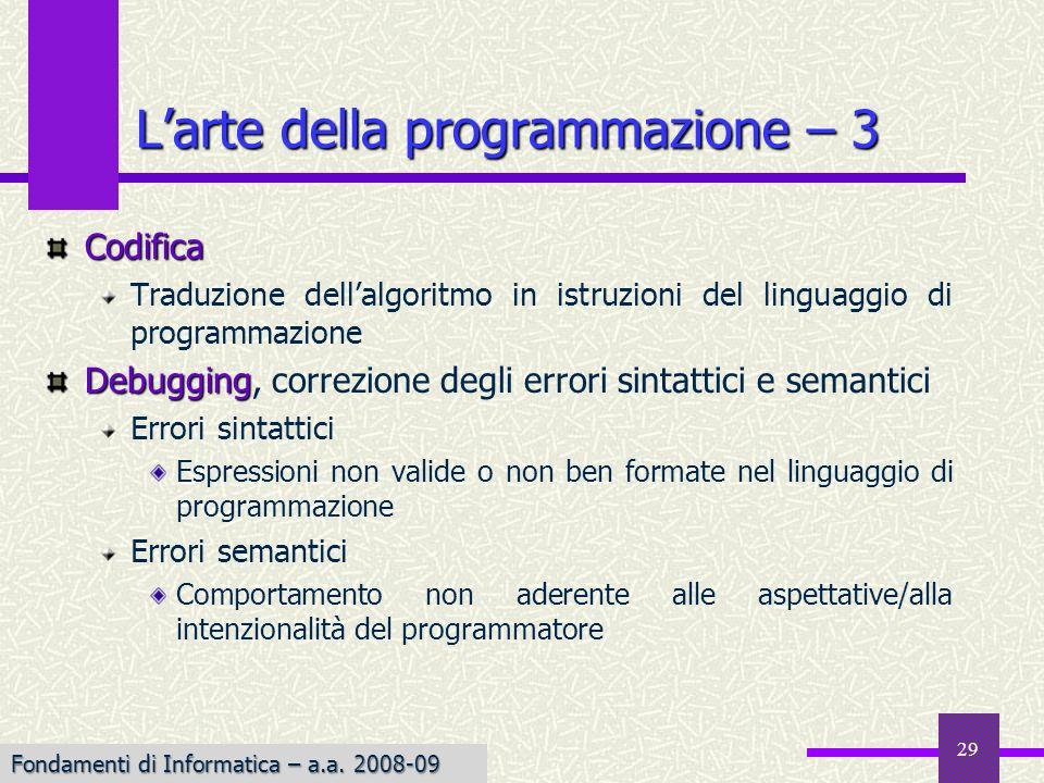 L'arte della programmazione – 3