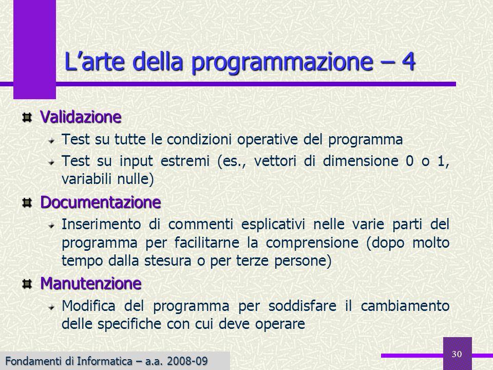 L'arte della programmazione – 4