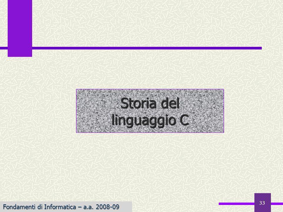 Storia del linguaggio C Fondamenti di Informatica – a.a. 2008-09