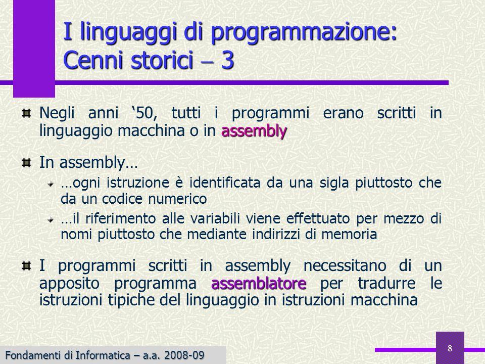 I linguaggi di programmazione: Cenni storici  3