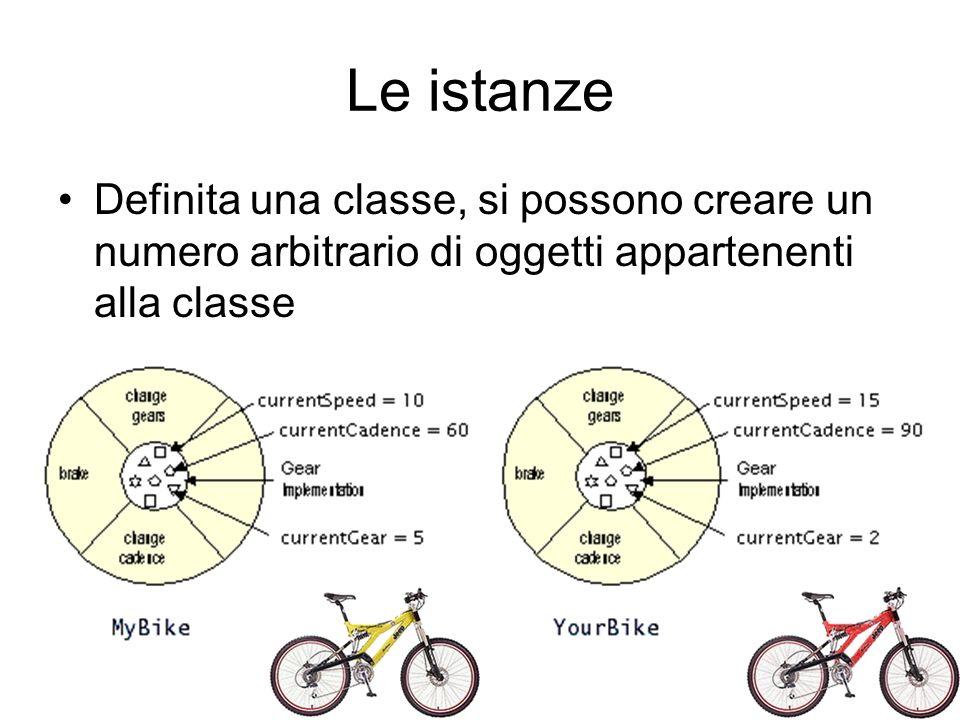 Le istanze Definita una classe, si possono creare un numero arbitrario di oggetti appartenenti alla classe.