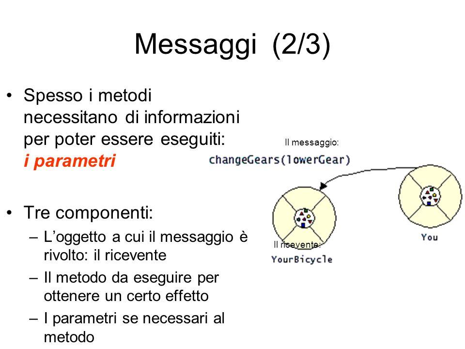 Messaggi (2/3) Spesso i metodi necessitano di informazioni per poter essere eseguiti: i parametri.