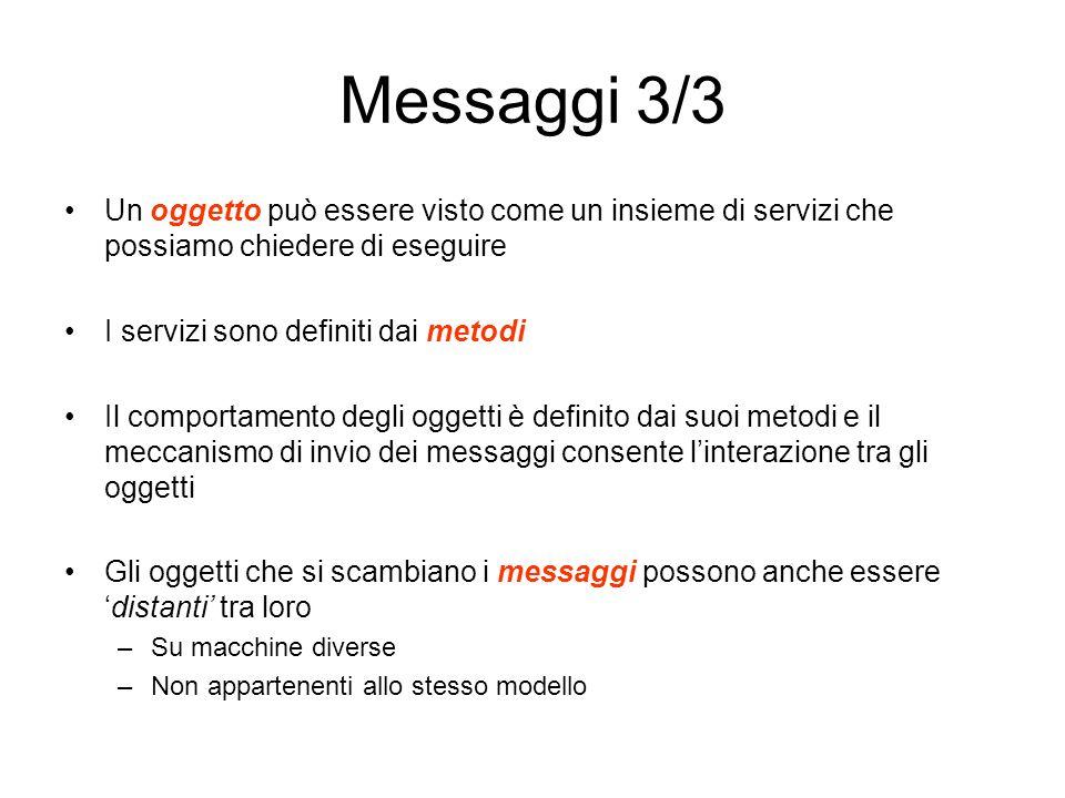 Messaggi 3/3 Un oggetto può essere visto come un insieme di servizi che possiamo chiedere di eseguire.