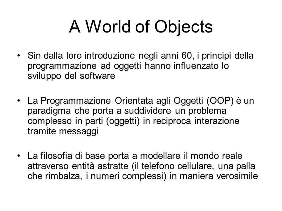 A World of Objects Sin dalla loro introduzione negli anni 60, i principi della programmazione ad oggetti hanno influenzato lo sviluppo del software.