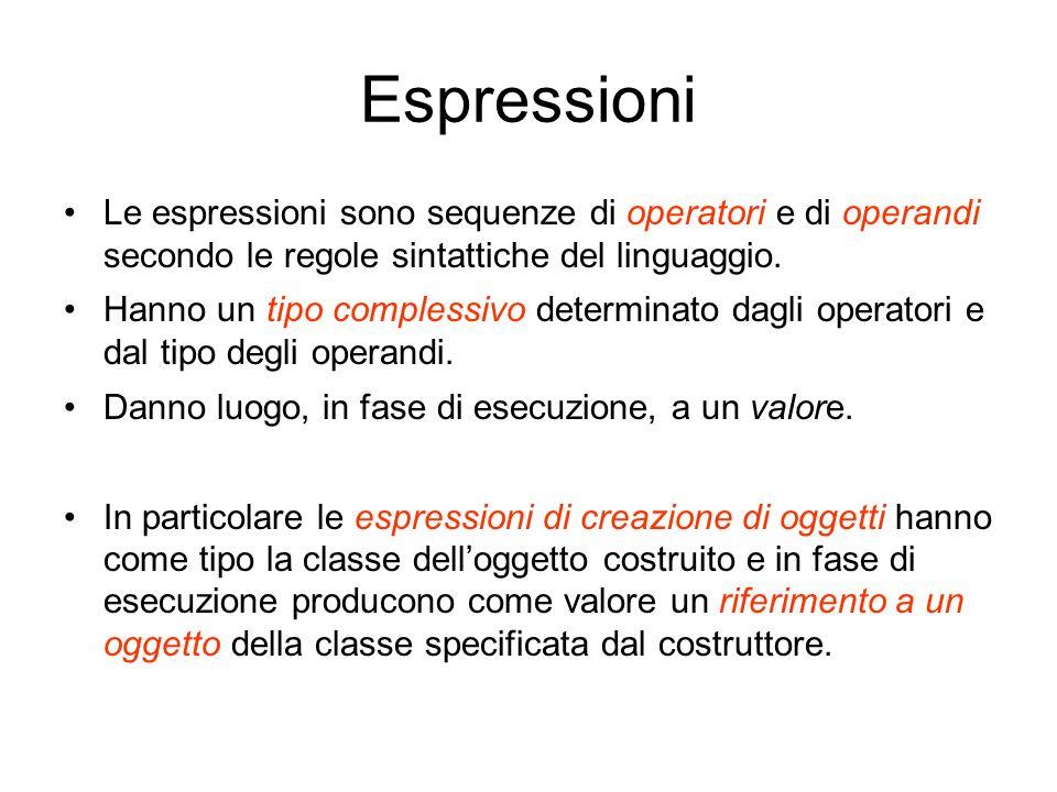 Espressioni Le espressioni sono sequenze di operatori e di operandi secondo le regole sintattiche del linguaggio.
