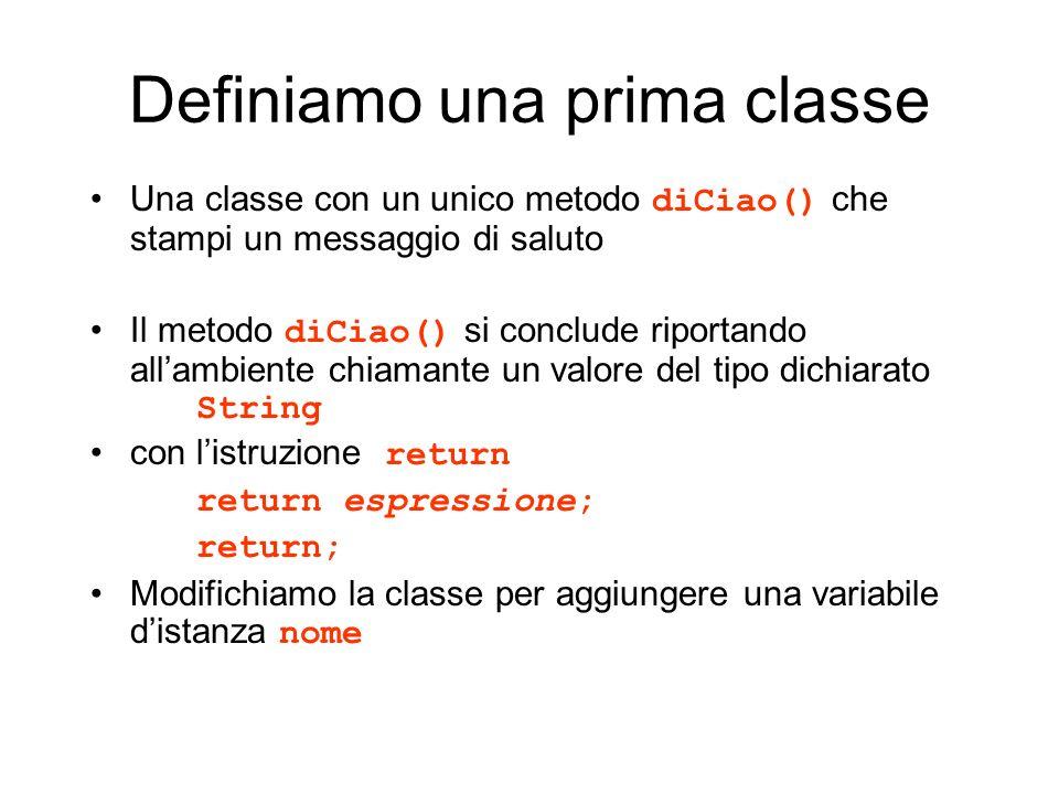 Definiamo una prima classe