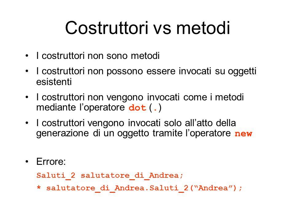 Costruttori vs metodi I costruttori non sono metodi