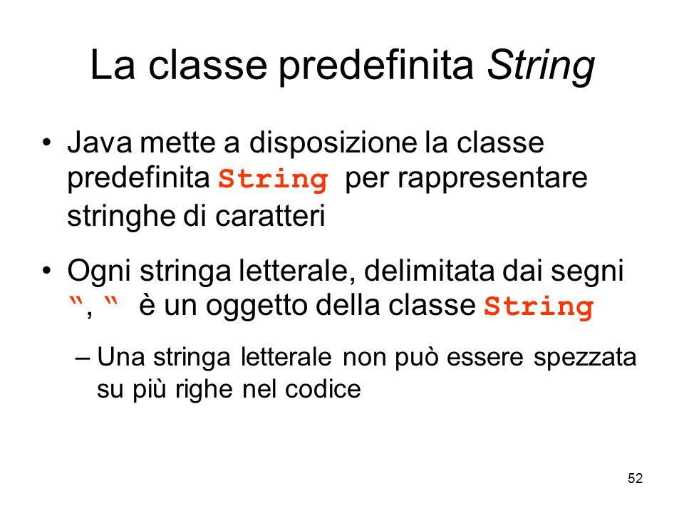 La classe predefinita String