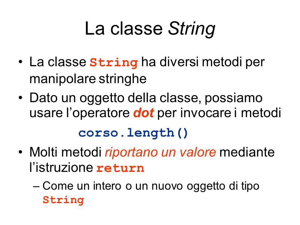 La classe String La classe String ha diversi metodi per manipolare stringhe.