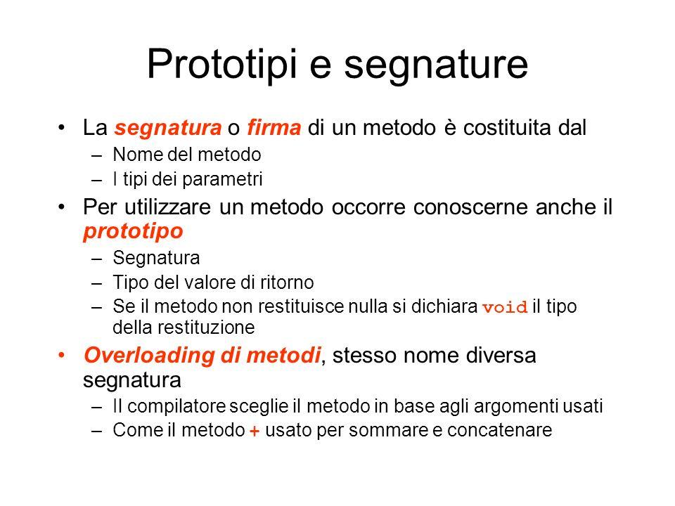 Prototipi e segnature La segnatura o firma di un metodo è costituita dal. Nome del metodo. I tipi dei parametri.