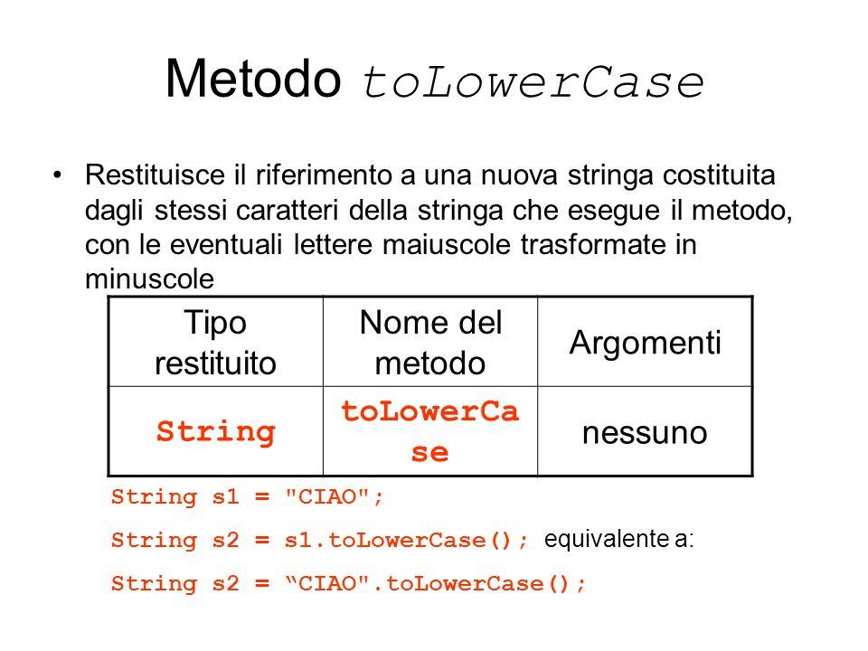 Metodo toLowerCase Tipo restituito Nome del metodo Argomenti String