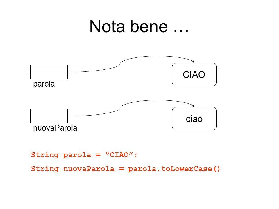 Nota bene … CIAO ciao parola nuovaParola String parola = CIAO ;