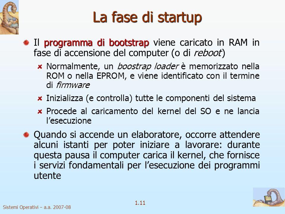 La fase di startup Il programma di bootstrap viene caricato in RAM in fase di accensione del computer (o di reboot )