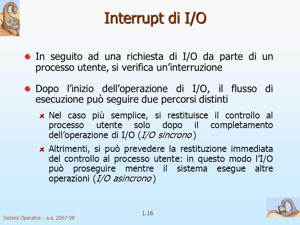 Interrupt di I/O In seguito ad una richiesta di I/O da parte di un processo utente, si verifica un'interruzione.
