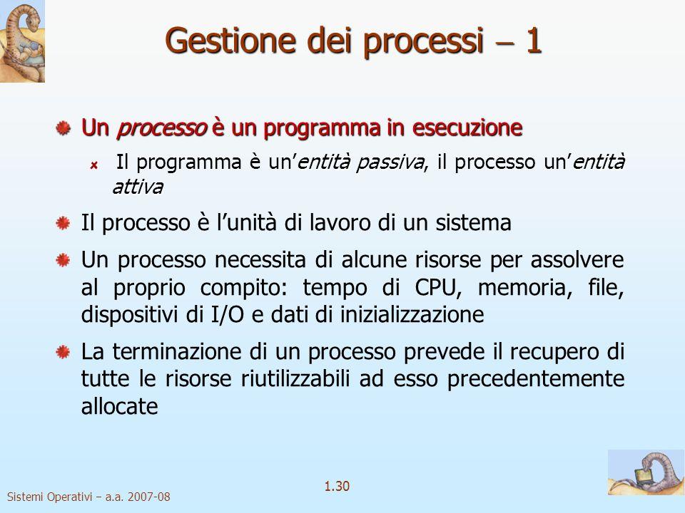 Gestione dei processi  1