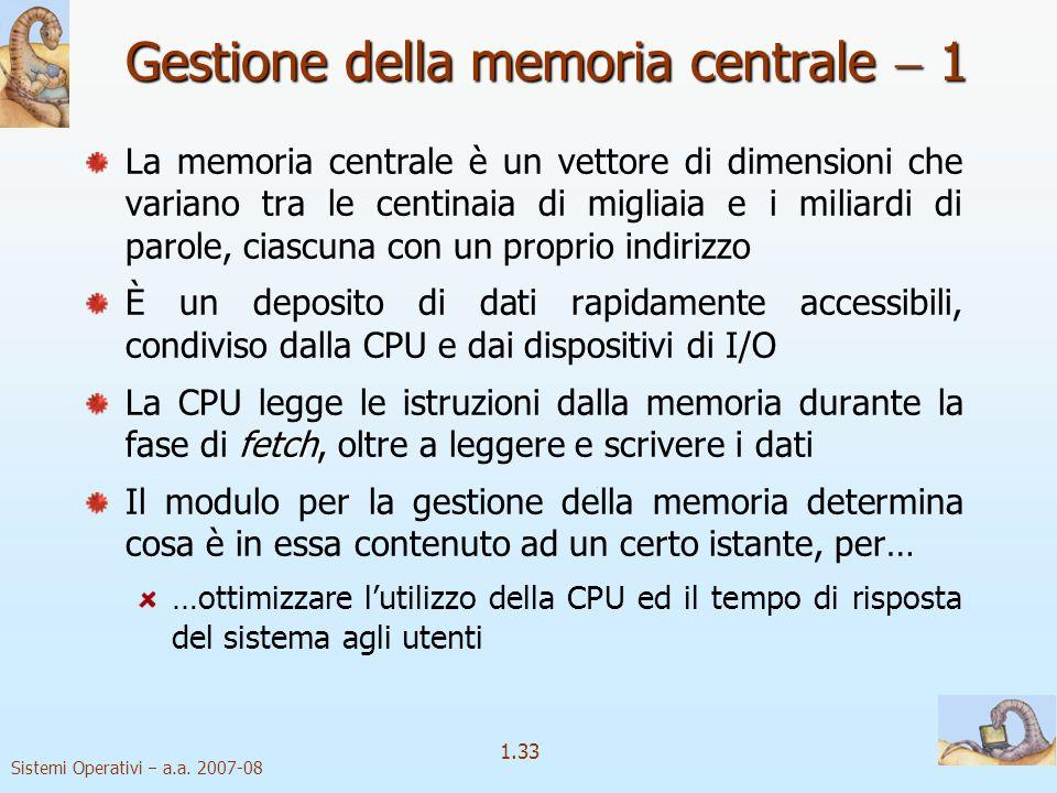 Gestione della memoria centrale  1