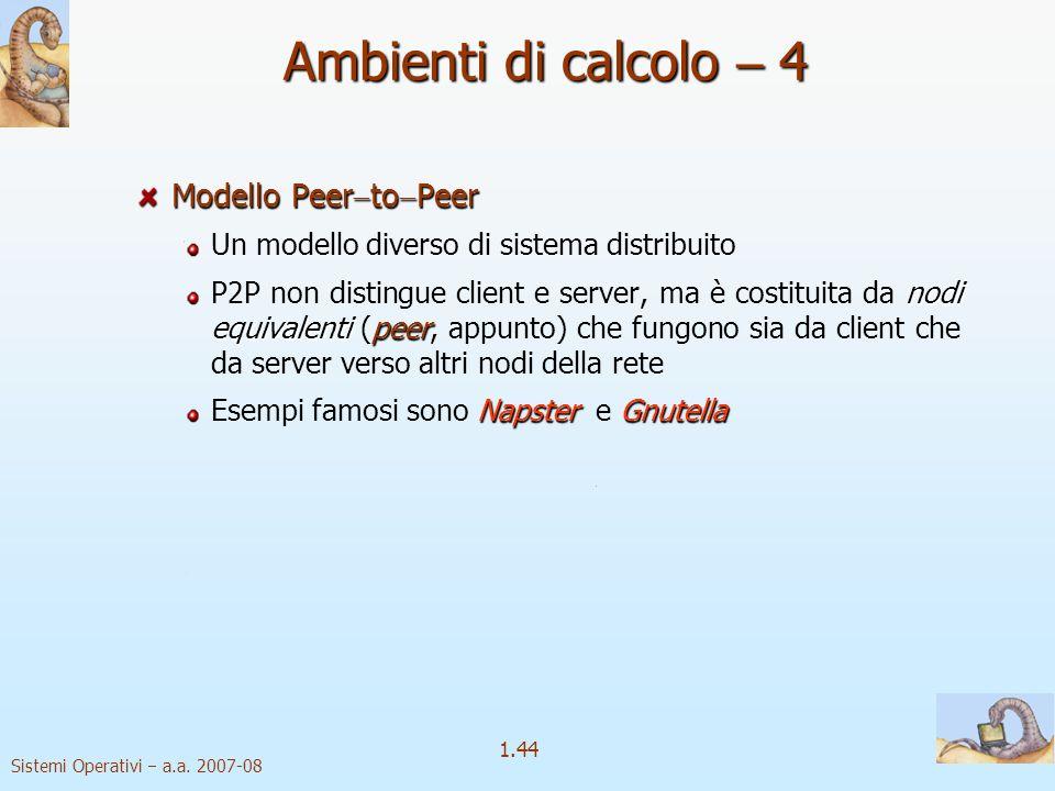 Ambienti di calcolo  4 Modello PeertoPeer