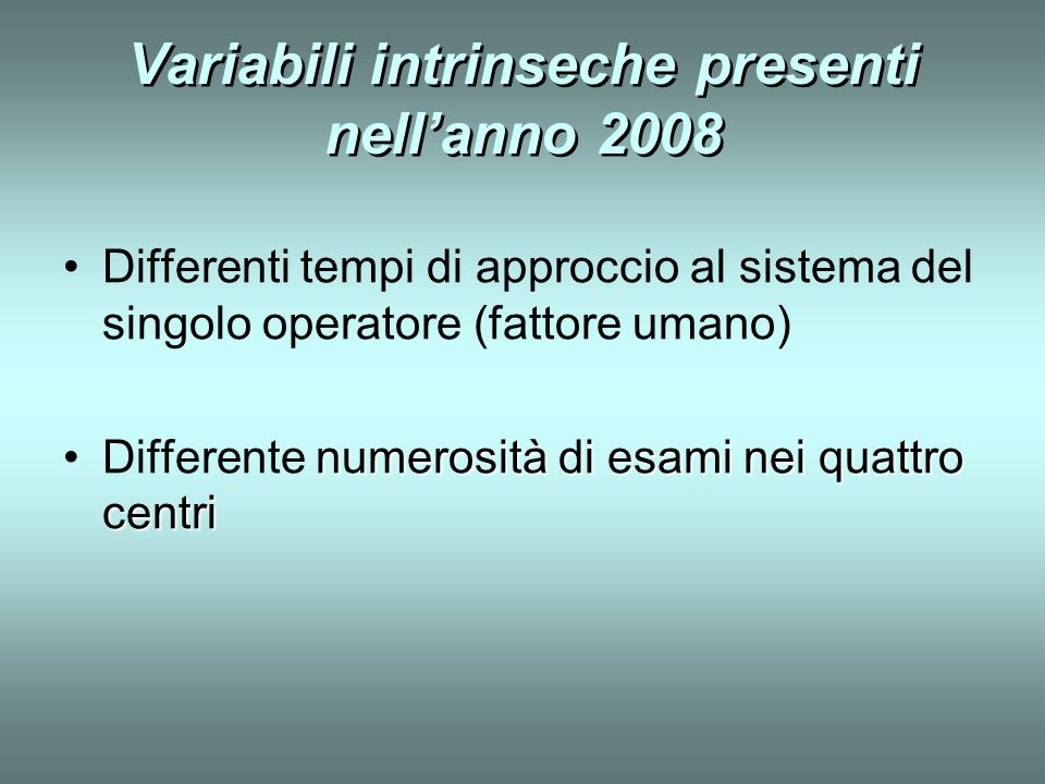Variabili intrinseche presenti nell'anno 2008