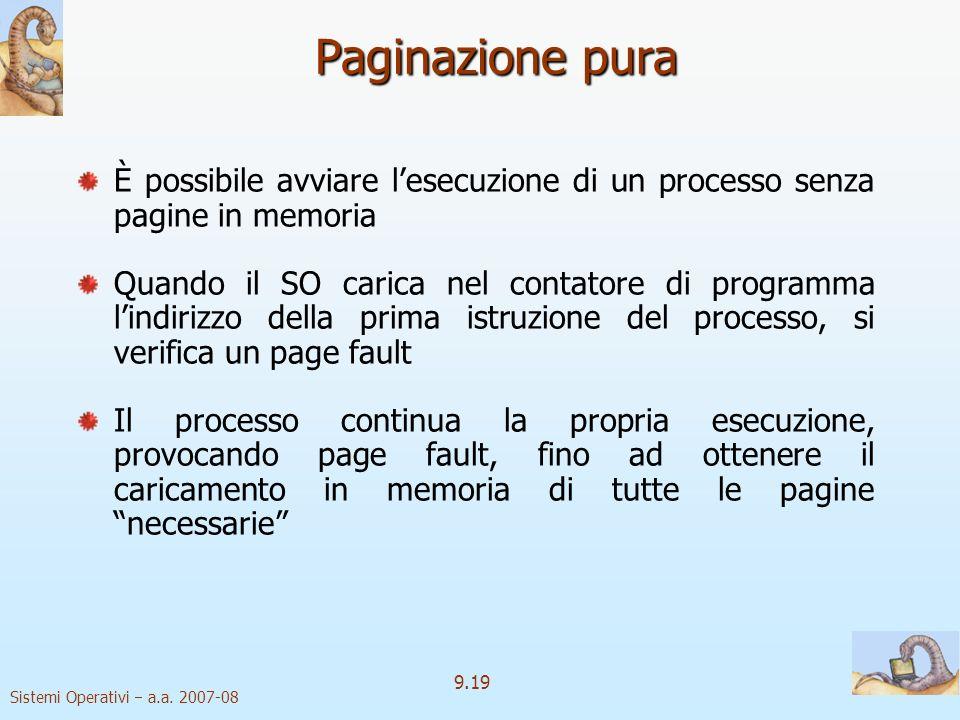 Paginazione pura È possibile avviare l'esecuzione di un processo senza pagine in memoria.