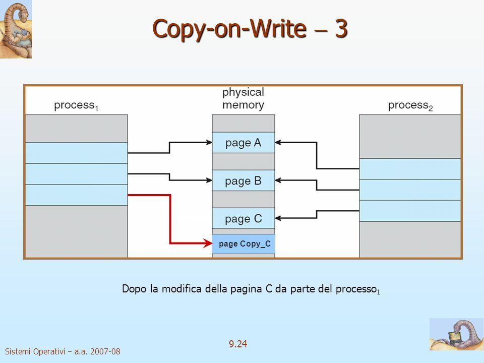 Copy-on-Write  3 Dopo la modifica della pagina C da parte del processo1.