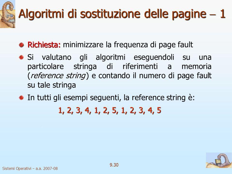 Algoritmi di sostituzione delle pagine  1
