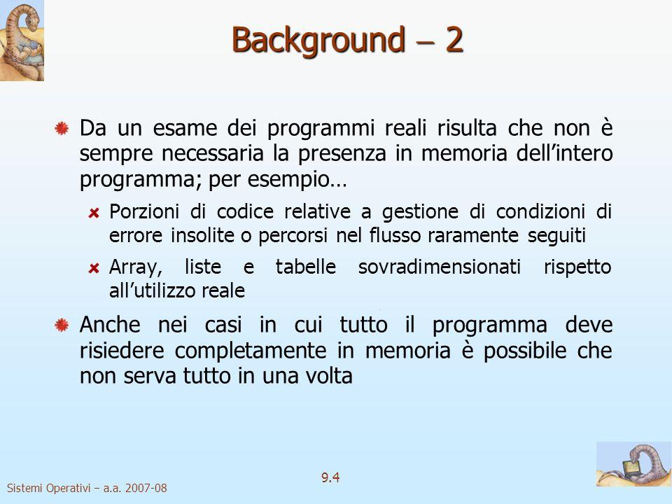 Background  2 Da un esame dei programmi reali risulta che non è sempre necessaria la presenza in memoria dell'intero programma; per esempio…