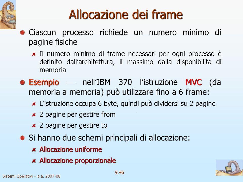 Allocazione dei frame Ciascun processo richiede un numero minimo di pagine fisiche.