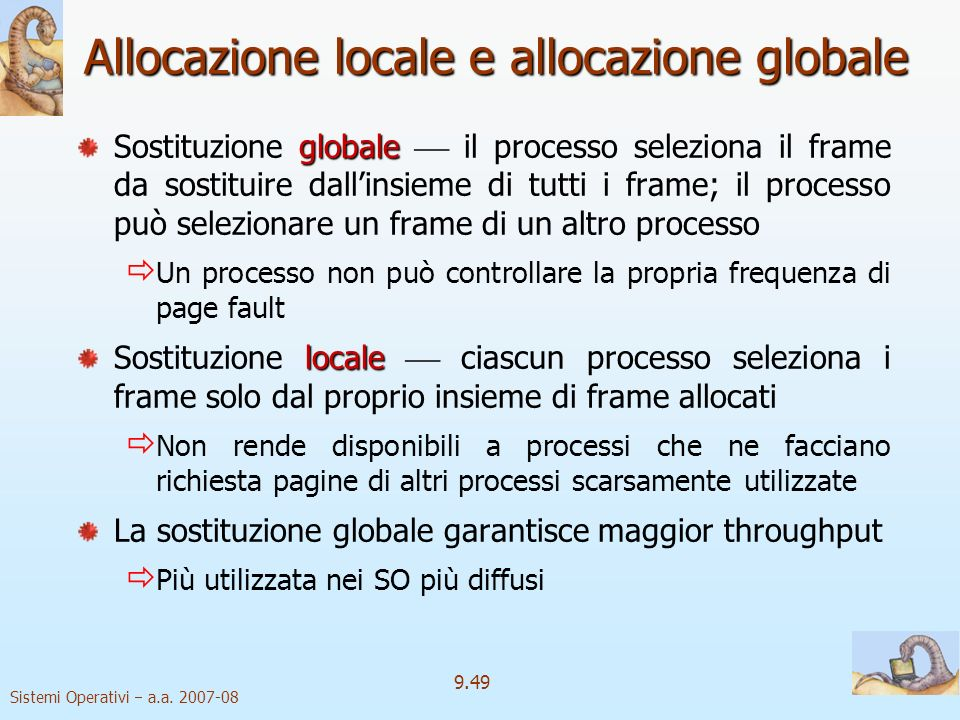 Allocazione locale e allocazione globale