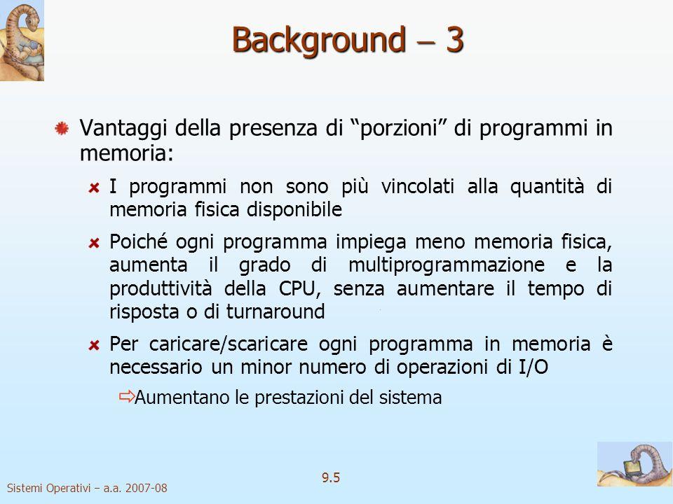 Background  3 Vantaggi della presenza di porzioni di programmi in memoria: