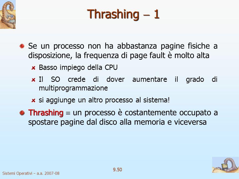 Thrashing  1 Se un processo non ha abbastanza pagine fisiche a disposizione, la frequenza di page fault è molto alta.