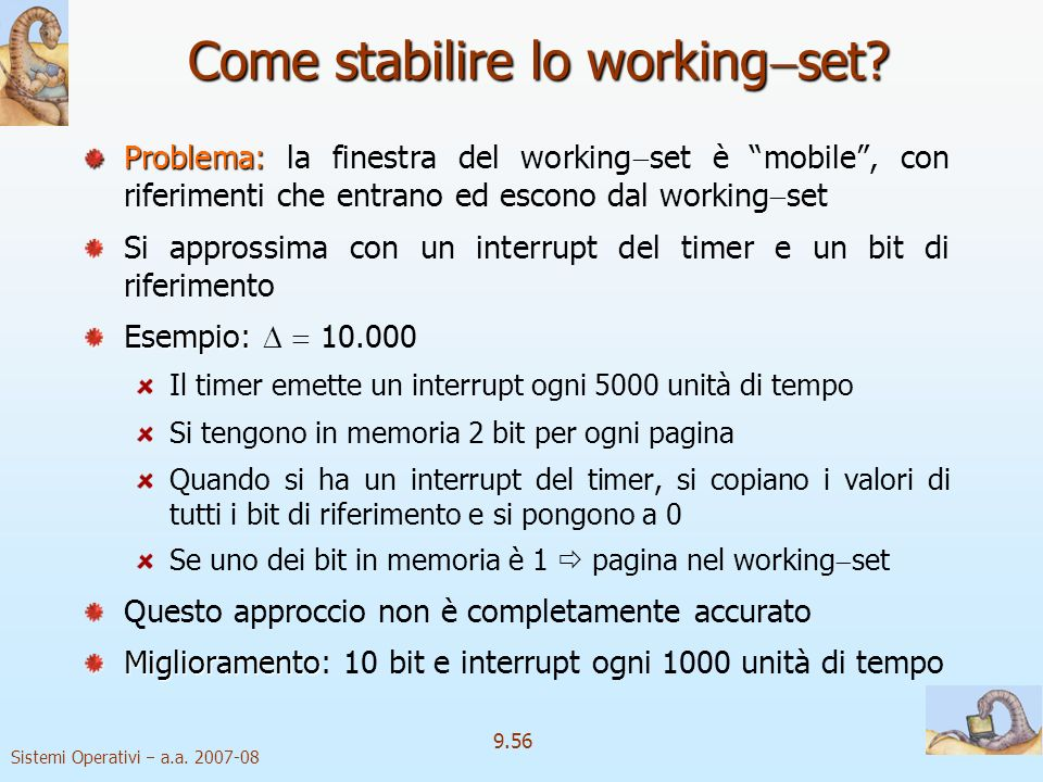 Come stabilire lo workingset