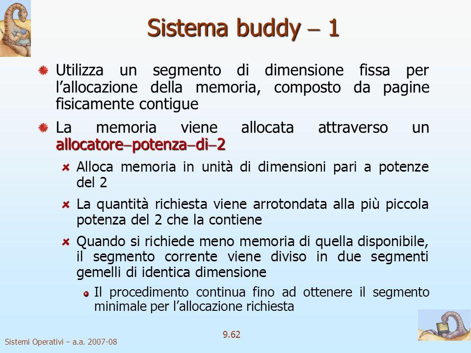 Sistema buddy  1 Utilizza un segmento di dimensione fissa per l'allocazione della memoria, composto da pagine fisicamente contigue.