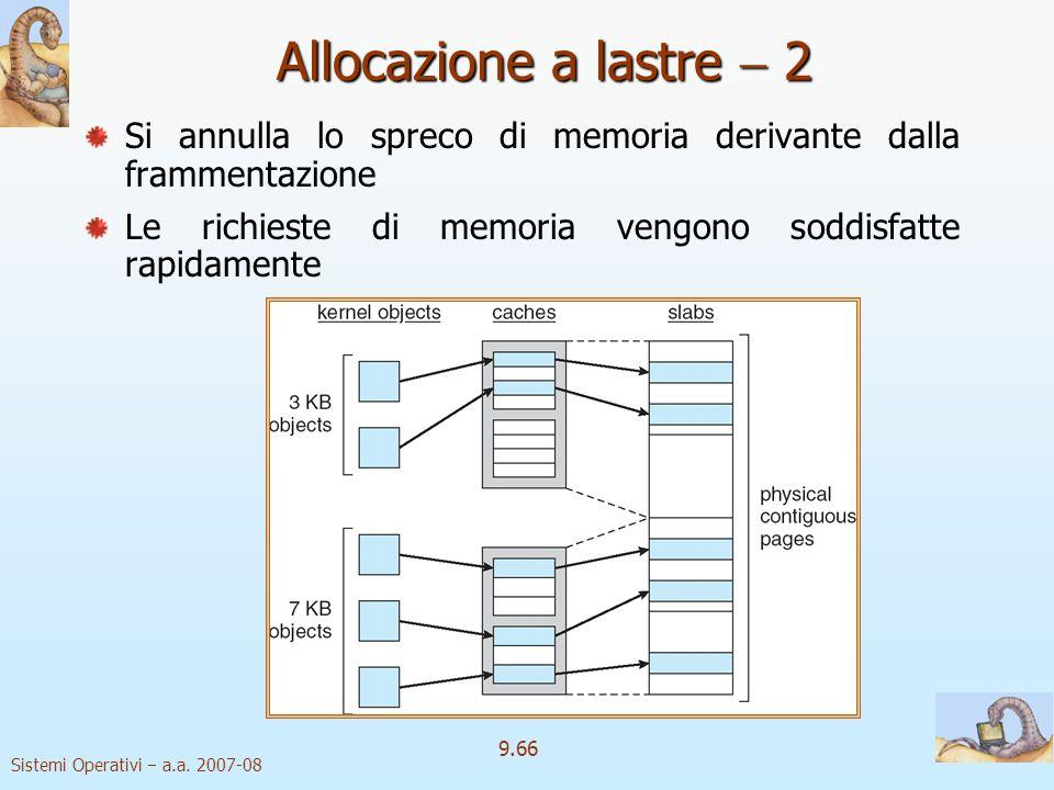 Allocazione a lastre  2 Si annulla lo spreco di memoria derivante dalla frammentazione.