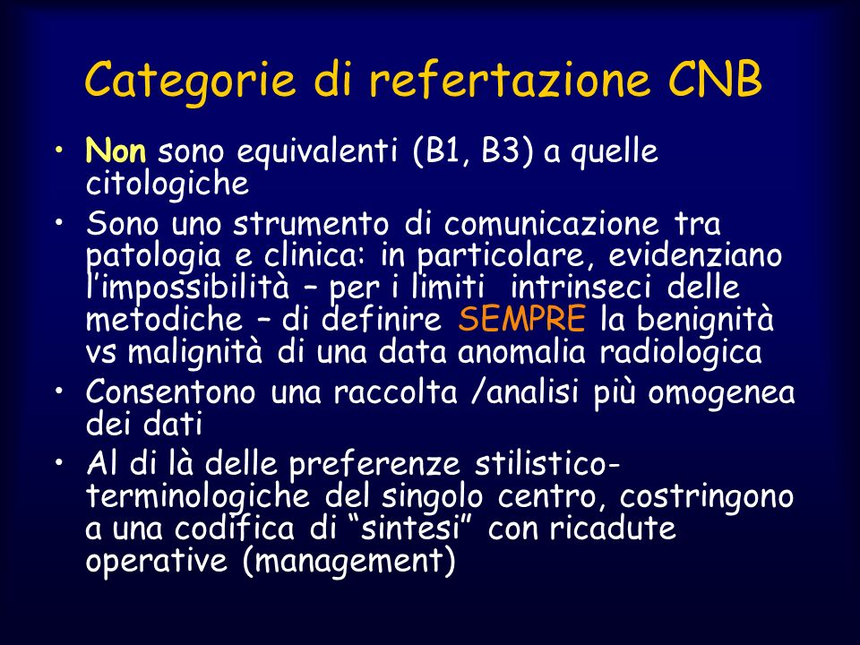 Categorie di refertazione CNB