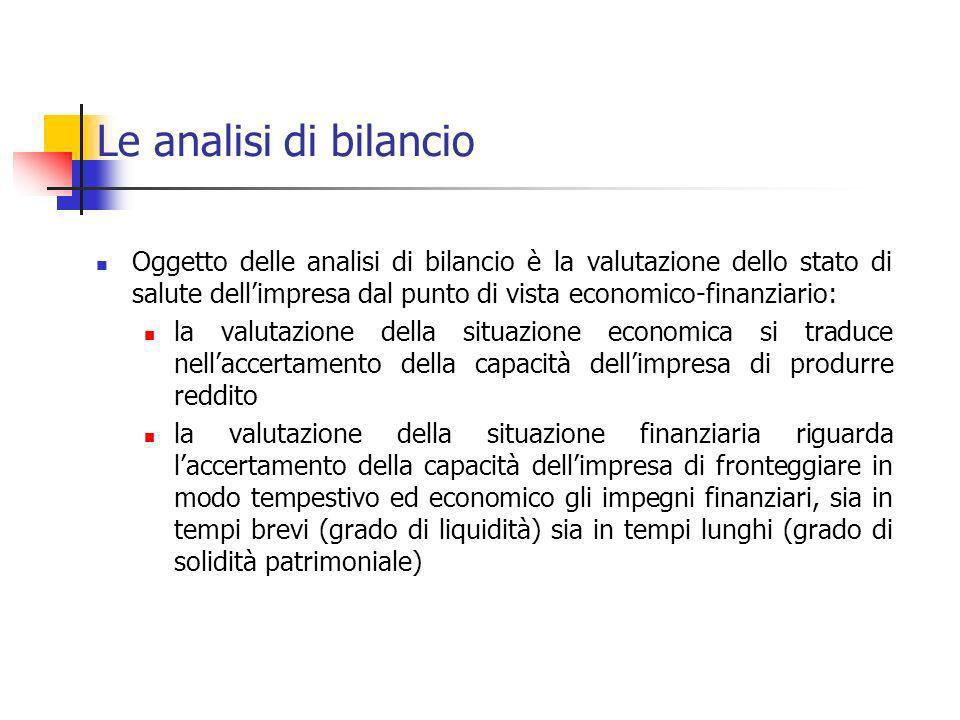 Le analisi di bilancio